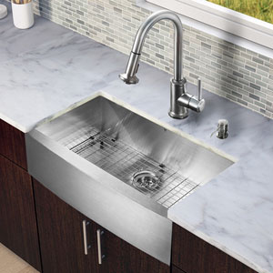 All-In-One 30 Inch Camden Stainless Steel Farmhouse Kitchen Sink Set With Astor Faucet, Grid, Strainer And Soap Dispenser