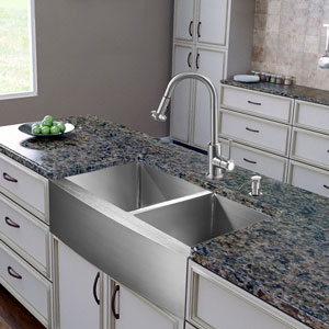 All-In-One 36 Inch Bingham Stainless Steel Double Bowl Farmhouse Kitchen Sink Set With Astor Faucet, Two Grids, Two Strainers