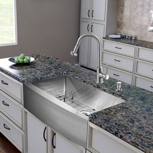 All-In-One 30 Inch Bedford Stainless Steel Farmhouse Kitchen Sink Set With Astor Faucet, Grid, Strainer And Soap Dispenser