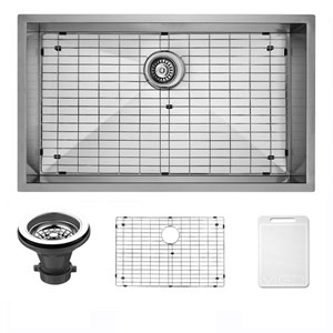 30-inch Ludlow Stainless Steel Undermount Kitchen Sink, With Grid And Strainer