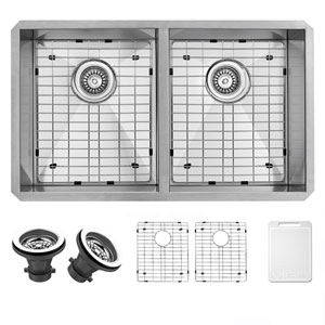 32-inch Suffolk Stainless Steel Double Bowl Undermount Kitchen Sink, With Grids And Strainers