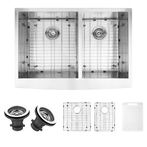 33-inch Chisholm Stainless Steel Double Bowl Farmhouse Kitchen Sink, With Grids And Strainers