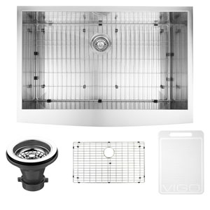 33-inch Camden Stainless Steel Farmhouse Kitchen Sink, With Grid And Strainer