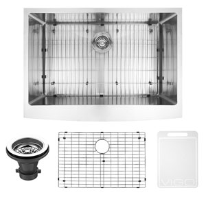 30-inch Bedford Stainless Steel Farmhouse Kitchen Sink, With Grid And Strainer