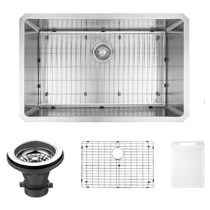 32-inch Mercer Stainless Steel Undermount Kitchen Sink, With Grid And Strainer