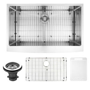 36-inch Bedford Stainless Steel Farmhouse Kitchen Sink, With Grid And Strainer