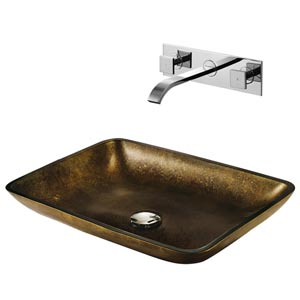 Copper Glass Vessel Sink and Faucet Set