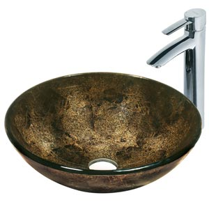 Sintra Glass Vessel Sink and Faucet Set