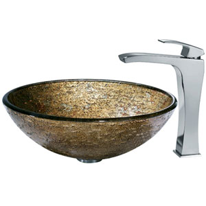 Textured Copper Vessel Sink and Square-Edged Faucet
