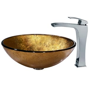 Liquid Gold Vessel Sink and Faucet