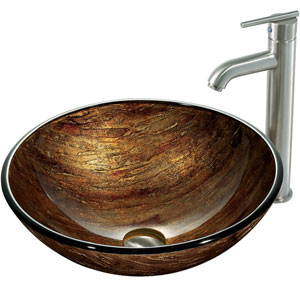 Amber Sunset Multicolor Vessel Sink with Brushed Nickel Faucet