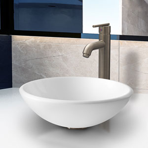 Elizabeth Phoenix Stone Vessel Bathroom Sink Set With Seville Vessel Faucet In Brushed Nickel