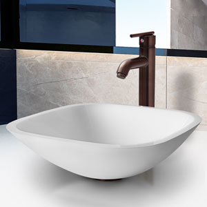 Marie Phoenix Stone Vessel Bathroom Sink Set With Seville Vessel Faucet In Oil Rubbed Bronze