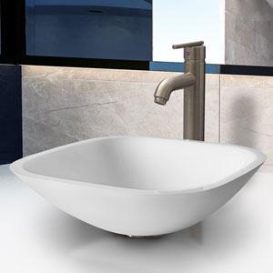 Marie Phoenix Stone Vessel Bathroom Sink Set With Seville Vessel Faucet In Brushed Nickel