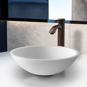 Victoria Phoenix Stone Vessel Bathroom Sink Set With Otis Vessel Faucet In Oil Rubbed Bronze