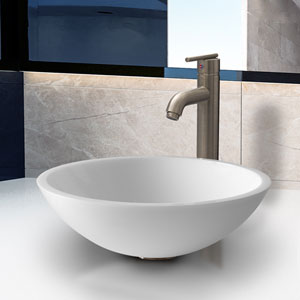 Victoria Phoenix Stone Vessel Bathroom Sink Set With Seville Vessel Faucet In Brushed Nickel