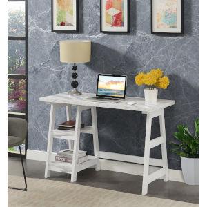Designs2Go White Trestle Desk with Shelves