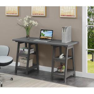 Designs2Go Charcoal Gray Double Trestle Desk
