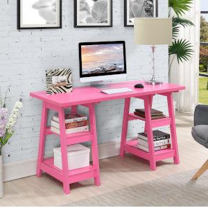 Designs2Go Pink Double Trestle Desk