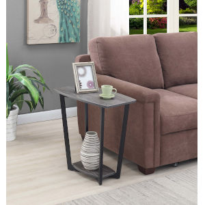 Weathered Gray and Black 14-Inch End Table