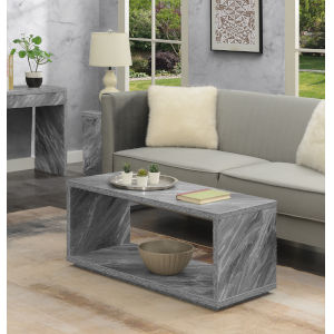 Northfield Admiral Gray Faux Marble Coffee Table with Shelf