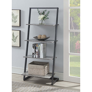 Graystone Slate Gray Four Tier Ladder Bookshelf