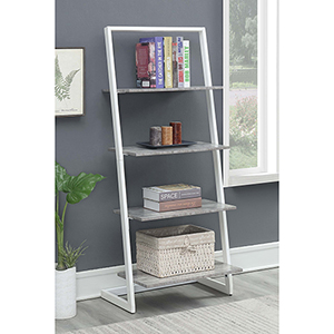 Graystone White Four Tier Ladder Bookshelf