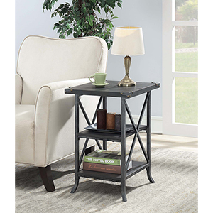 Brookline Charcoal Gray End Table with Gray Frame