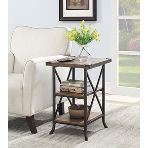 Brookline Driftwood End Table with Brown Frame