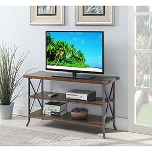 Brookline Dark Walnut TV Stand with Gray Frame