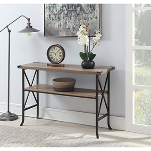 Brookline Driftwood Console Table with Brown Frame