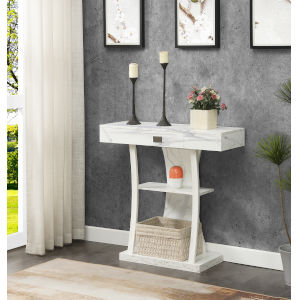 Newport Harri White One Drawer Console Table with Shelves