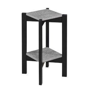 Planters and Potts Faux Cement Black Particle Board Medium Square Plant Stand