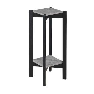Planters and Potts Faux Cement Black Particle Board Deluxe Square Plant Stand