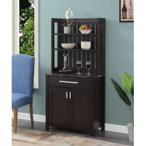 Sawyer Faux Black Marble and Espresso Wine Bar with Cabinet