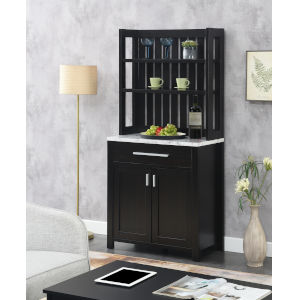Sawyer Faux White Marble and Espresso Wine Bar with Cabinet