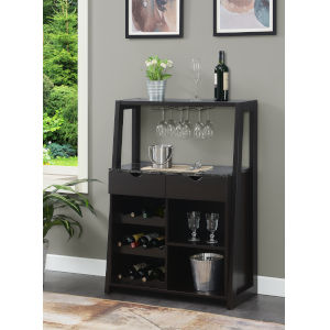 Uptown Faux Black Marble and Espresso Wine Bar with Cabinet