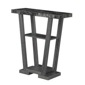 Newport Faux Black Marble and Weathered Gray V-Shaped Console Table