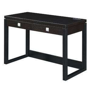 Newport Espresso and Black Two-Drawer Desk with Charging Station