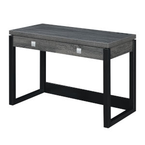 Newport Weathered Gray and Black Two-Drawer Desk with Charging Station