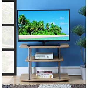 Designs2Go Weathered White Three Tier TV Stand