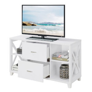 Oxford White Deluxe TV Stand with Two-Drawers