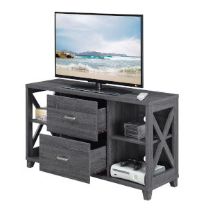 Oxford Weathered Gray Deluxe TV Stand with Two-Drawers