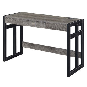 Monterey Weathered Gray and Black Desk with Charging Station