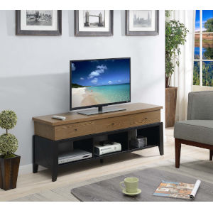 Newport Driftwood and Black 60-Inch TV Stand