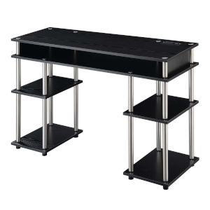 Designs2Go Black Student Desk with Charging Station