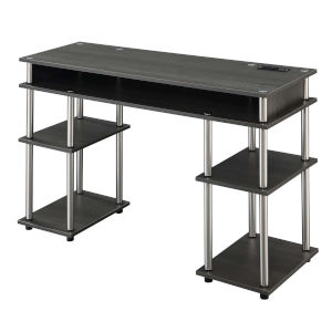 Designs2Go Charcoal Gray Student Desk with Charging Station