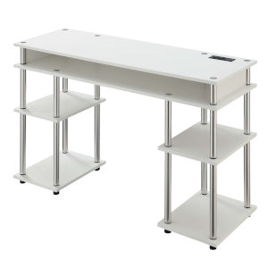 Designs2Go White Student Desk with Charging Station