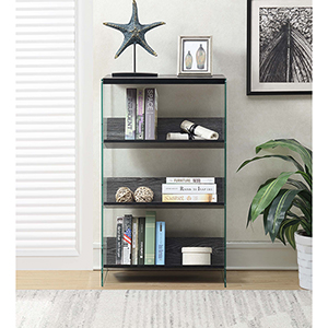SoHo Weathered Gray and Glass Four Tier Bookcase