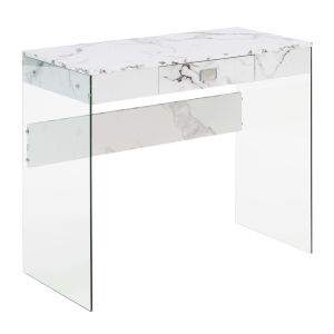 SoHo White Desk with Tempered Glass
